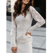 Lovely Chic V Neck Lace Patchwork Grey Mini Dress