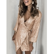 Lovely Formal Knot Design Lace-up Gold Mini Dress