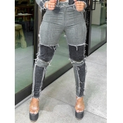 Lovely Trendy Patchwork Black Jeans