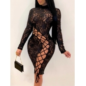 Lovely Sexy Bandage Hollow-out Design Black Knee Length Dress