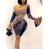 Lovely Sweet One Shoulder Print Flare Sleeve Blue Knee Length Dress