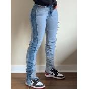 Lovely Street Patchwork Skinny Blue Jeans