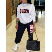 Lovely Casual O Neck Letter Print Black Two Piece Pants Set