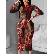 Lovely Casual O Neck Snake Print Red Mid Calf Dres