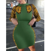 Lovely Casual O Neck Leopard Print Green Knee Leng