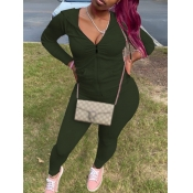 Lovely Casual Hooded Collar Kangaroo Pocket Army Green Two Piece Pants Set
