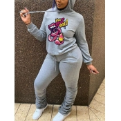 Lovely Casual Hooded Collar Lip Print Grey Two Piece Pants Set