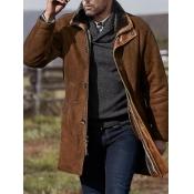 Lovely Trendy Turndown Collar Buttons Design Brown