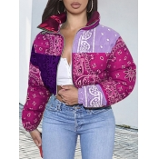 Lovely Casual Print Patchwork Purple Parka(Batch P