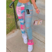 Lovely Street Patchwork Hollow-out Blue Jeans