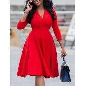 Lovely Formal V Neck Red Knee Length A Line Dress