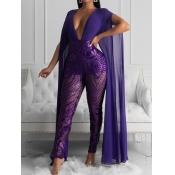 Lovely Stylish See-through Patchwork Sequined Purp