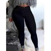 Lovely Casual Basic Skinny Black Plus Size Jeans