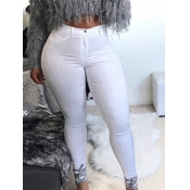 Lovely Casual Basic Skinny White Plus Size Jeans