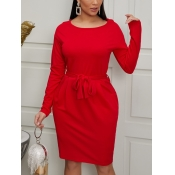 Lovely Trendy Christmas Day Red Knee Length Dress