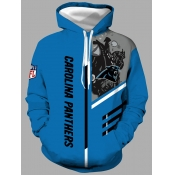 Lovely Leisure Hooded Collar Print Blue Men Hoodie