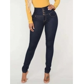 Lovely Stylish Buttons Design Deep Blue Jeans