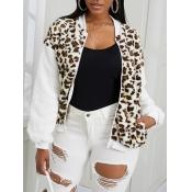 Lovely Chic Leopard Print Patchwork Faux Fur