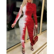 Lovely Street Tie Dye Print Red One-piece Jumpsuit