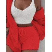 Lovely Stylish Lamb Fleece Red Sleepwear(Three-piece)