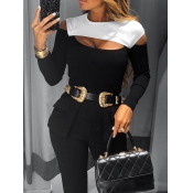 Lovely Stylish Hollow-out Patchwork Black T-shirt(