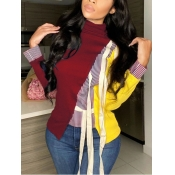 Lovely Stylish Turtleneck Patchwork Lace-up Red Ho