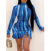 Lovely Sweet Gradient Drawstring Blue Mini Dress