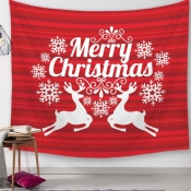 Lovely Christmas Day Letter Print Red Wall Cloth