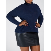 Lovely Casual Turtleneck Basic Loose Dark Blue Plu