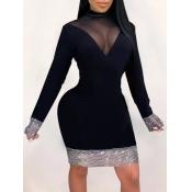 Lovely Party Half A Turtleneck Mesh Patchwork Black Knee Length Dress