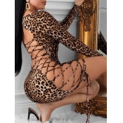 Lovely Sexy Leopard Print Bandage Hollow-out Desig