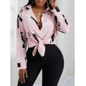 Lovely Formal Floral Print Patchwork Pink Blouse