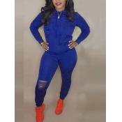 Lovely Sportswear Hooded Collar Broken Holes Blue