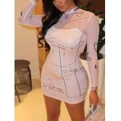 Lovely Chic Letter Print See-through White Mini Dress