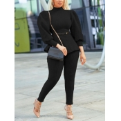 Lovely Formal Turtleneck Puffed Sleeve Black Two P