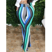 Lovely Formal Striped Patchwork Blue Pants
