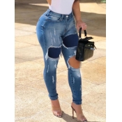 Lovely Street High-waisted Patchwork Baby Blue Jea