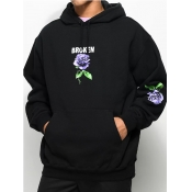 Lovely Casual Hooded Collar Floral Print Black Men