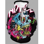 Lovely Street Hooded Collar Graffiti Element Multi