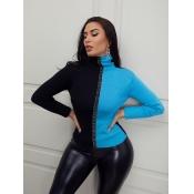 Lovely Stylish Turtleneck Patchwork Blue Sweater