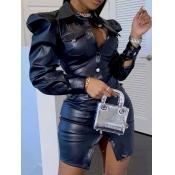 Lovely Casual Fold Button Design Black Mini Shirt