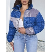 Lovely Casual Print Patchwork Blue Parka(Batch Print)