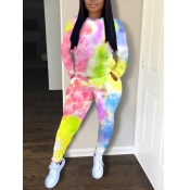 Lovely Casual Tie Dye Print Multicolor Two Piece Pants Set