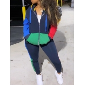 Lovely Sportswear Hooded Collar Color-lump Stitchi