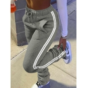 Lovely Casual Striped Fold Design Dark Grey Pants