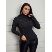 Lovely Casual Turtleneck Mesh Stitching Black Swea