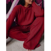 Lovely Casual Hooded Collar Drawstring Wine Red Pl