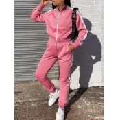 Lovely Sportswear Striped Patchwork Pink Two Piece