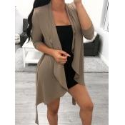 Lovely Trendy Long Sleeve Asymmetrical Khaki Coat