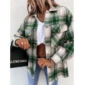 Lovely Casual Dropped Shoulder Sleeve Plaid Green